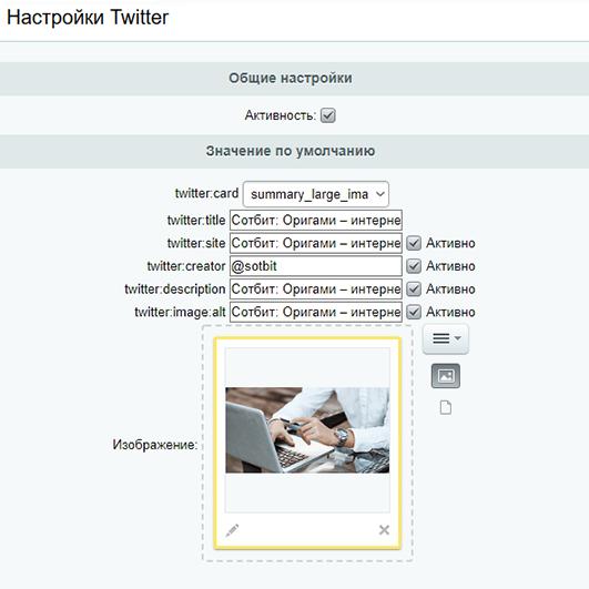 Настройки главной страницы для твиттера в модуле OpenGraph