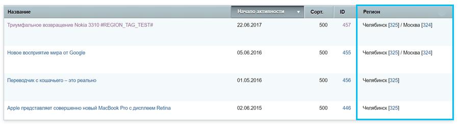 Региональный контент в Аспро.Next